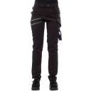 Men's Fashion Unique Buckle Design Double Zipper Embellished Slim Fit Plain Pencil Pants