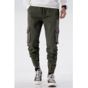 Men's New Fashion Basic Plain Flap Pocket Side Drawstring Waist Elastic Cuffs Casual Cotton Cargo Pants