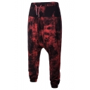 Men's Trendy Unique Printed Loose Fit Drawstring Waist Drop-Crotch Harem Pants