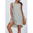 Sweet Simple Plain Round Neck Sleeveless Mini Ruffled Tank Dress