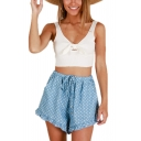 Summer Holiday Fashion Blue Polka Dot Printed Drawstring Waist Ruffled Hem Culottes Beach Shorts