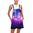 Womens New Stylish Cool 3D Galaxy Printed Loose Fit Overall Shorts Rompers
