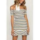 Summer Trendy Striped Printed Sexy Off the Shoulder Short Sleeve Mini Bodycon Dress