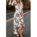 Summer Fancy Floral Printed V-Neck Flutter Sleeve Swallowtail Open Back Maxi Holiday Beach Dress