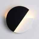 Rotatable Round LED Wall Lamp for Bedroom Modern Simple Metal Wall Light in Black and White
