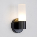 Cylindrical Shade Bedside Wall Lamp Simple Frosted Glass 1 Light Wall Sconce in Black