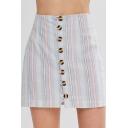 Girls Summer Fancy Striped Print Button Front Mini A-Line Skirt