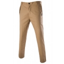 Men's Fashionable Basic Simple Plain Button Embellished Slim Fitted Casual Dress Pants