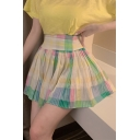 Girls Colorful Plaid Printed High Waist Mini A-Line Pleated Skirt