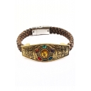 Creative Unique Five-Diamond Studded Hand Braided Brown Bracelet