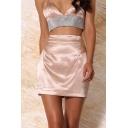 Womens Summer Sexy Fashion Simple Plain Mini High Waist A-Line Bodycon Silk Skirt