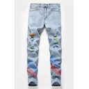 Men's New Fashion Colored Painting Printed Light Blue Zip-fly Ripped Jeans