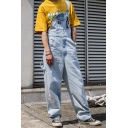 Trendy Chain Embellished Light Blue Casual Wide-Leg Straight Fit Unisex Denim Bib Overalls