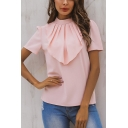 Womens Chic Plain Pink Stand Collar Short Sleeve Ruffled Front Chiffon Blouse Top