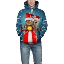 Christmas Funny Motor Cat with Red Hat 3D Print Blue Unisex Hoodie