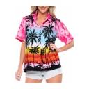 Womens Summer Holiday Tropical Coconut Print Short Sleeve Hawaiian Shirt