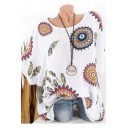 Hot Popular White Tribal Circle Print Round Neck Batwing Sleeve Blouse