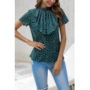 Ladies Graceful Green Polka Dot Print Stand Collar Short Sleeve Ruffled Front Vintage Blouse
