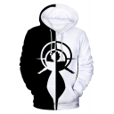 Cool Unique Comic Black and White Figure Printed Long Sleeve Pullover Hoodie