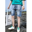 Summer Trendy Simple Plain Blue Frayed Ripped Denim Shorts for Men