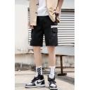 Men's Summer Fashion Colorblock Flap Pocket Side Drawstring Waist Black Casual Relaxed Cargo Shorts