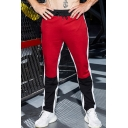 Men's New Fashion Colorblock Patched Zipped Cuffs Drawstring Waist Fitness Sweatpants