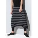 Men's Street Trendy Stripe Pattern Loose Fit Baggy Drop-Crotch Cotton Culottes Harem Pants