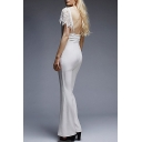 Summer Hot Fashion Sexy Plunge V-Neck Lace Sleeves Backless Wide Leg Long Pant Fitted Jumpsuits