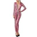 Cool Fashion Snakeskin Printed V-Neck long Sleeves Skinny Fit Jumpsuit for Women