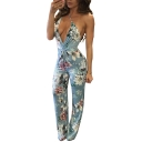 Womens Summer New Fashion Blue Floral Printed V-Neck Straps Backless Slim Convertible Jumpsuits