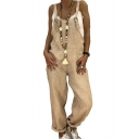 Womens Plain Hot Popular Straps Sleeveless Loose Casual Overall Jumpsuits