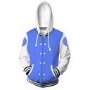 Trendy Blue Comic Cosplay Costume Long Sleeve Zip Up Loose Sport Hoodie