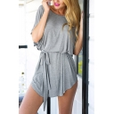 Summer Stylish Simple Plain Round Neck Batwing Sleeve Tied Waist Mini T-Shirt Dress