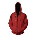 GOOD FOR HEALTH Pill Print Back Red Comic Cosplay Costume Long Sleeve Zip Up Hoodie
