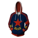 Stylish Blue and Red Simple Star Print Comic Cosplay Costume Long Sleeve Zip Up Drawstring Hoodie