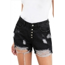 Womens Trendy Button-Fly Distressed Ripped High Rise Denim Shorts