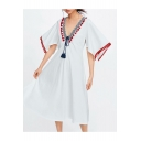 Summer Womens Holiday Fashion Tassel Hem V-Neck Midi A-Line White Dress