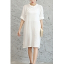 Womens Retro Chinese Style Frog Button Front Round Neck Half Sleeve Split Side Midi Linen Dress