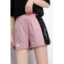 Summer Fashion Simple Letter Print Side Elastic Waist Girls Active Shorts