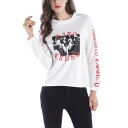 Womens Trendy Figure Letter Print Crewneck Long Sleeve Pullover Sweatshirt