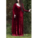 Ladies Vintage Medieval Square Neck Long Sleeve Plain Maxi Floor Length Cape Dress