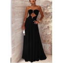 Sexy Hot Popular Cutout Strapless Sleeveless Black Party Maxi Dress