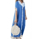 Hot Fashion Holiday Plain Fringe Trim Embellished Boho Short Sleeves T-Shirt Dress