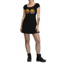 Womens Hot Fashion Halloween Style Pumpkin Print Black Casual T--Shirt Mini Dress