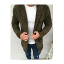 Guys Popular Simple Plain Open Front Hooded Fluffy Fleece Cardigan Coat