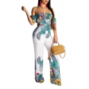 Womens Stylish Strapless Leaf Flower Print Short Sleeves Tie-Back Straight Pants Jumpsuits
