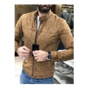 Mens Hot Popular Fashion Simple Plain Stand Collar Long Sleeve Zip Up Fitted Suede Jacket