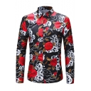 Fashion Floral Skull Print Mens Long Sleeve Slim Fit Button Up Shirt