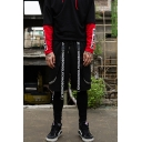 Men's Summer Cool Fashion Letter Printed Buckle Strap Embellished Black Cotton Drawstring Waist Sweat Shorts