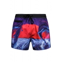 Men's Summer Fashion Shark Printed Drawstring Waist Purple Sports Running Shorts